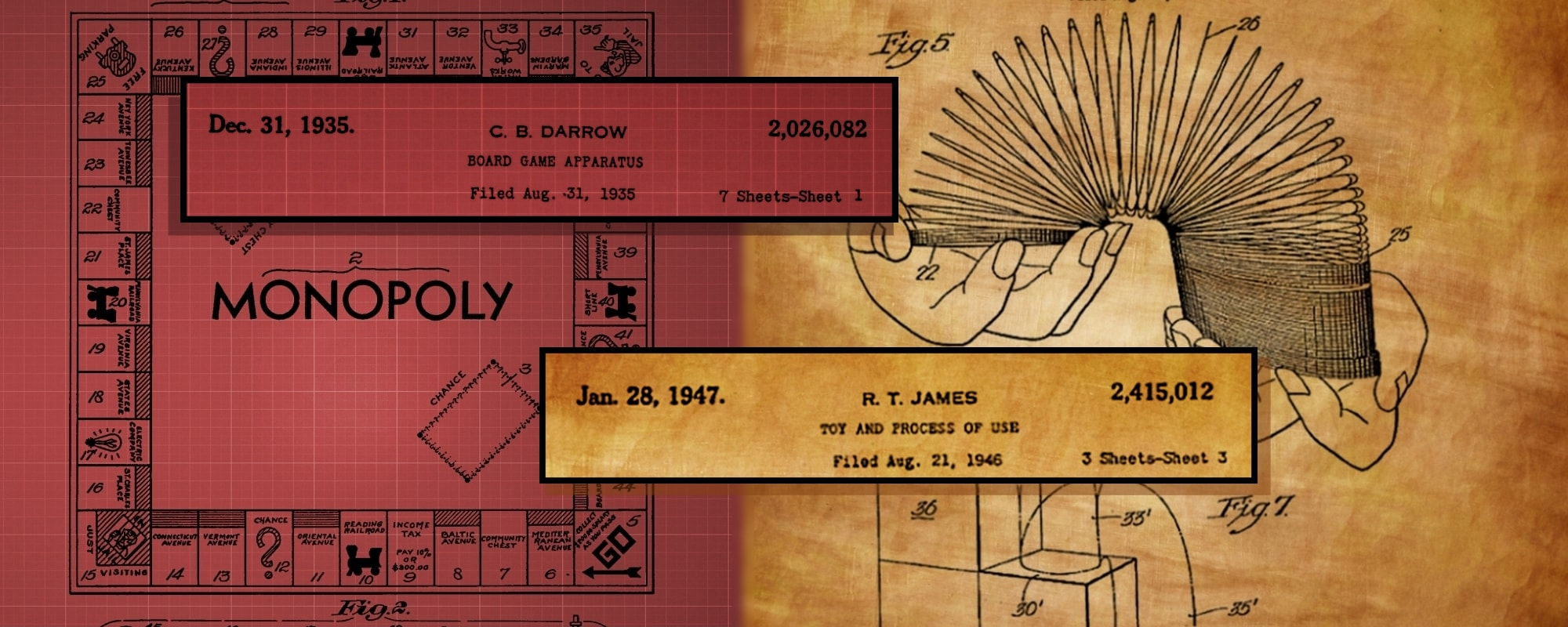 Sketches of historical patents for Monopoly game and Slinky toy