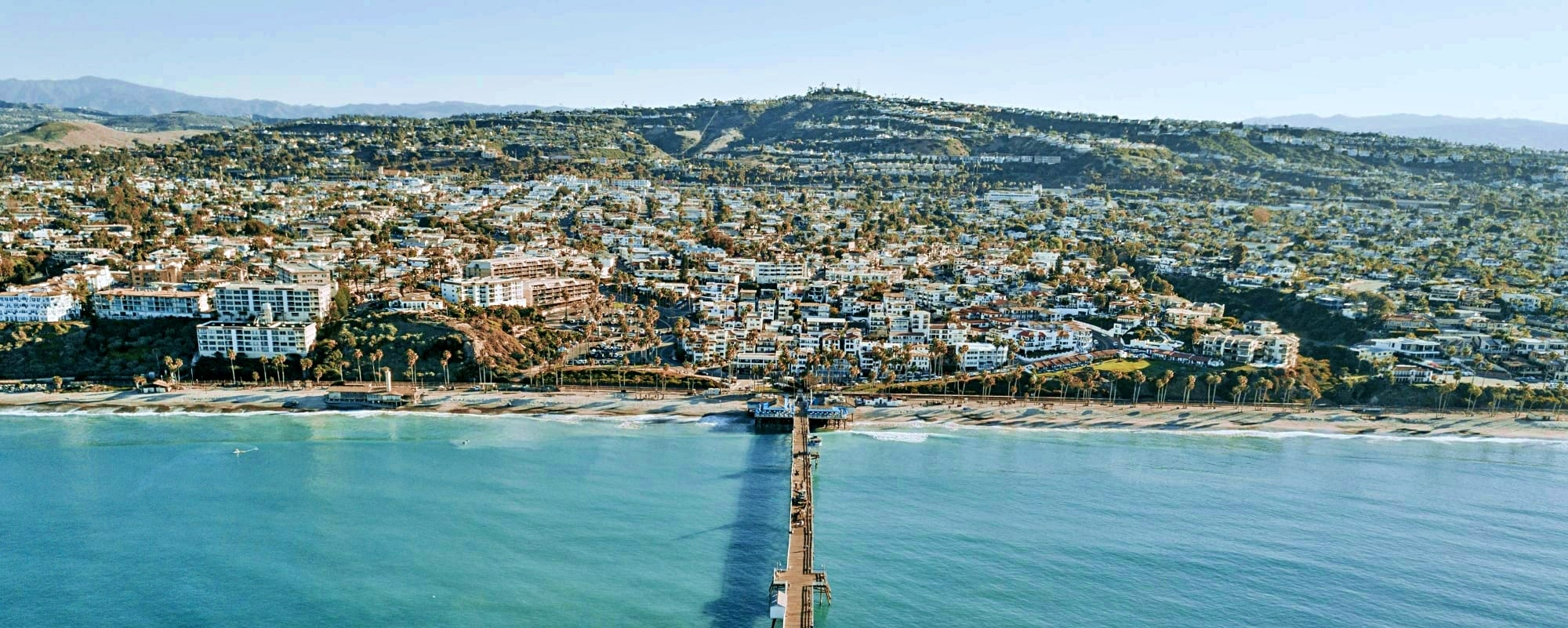 Aerial view of pier and city of San Clemente, Orange County, California